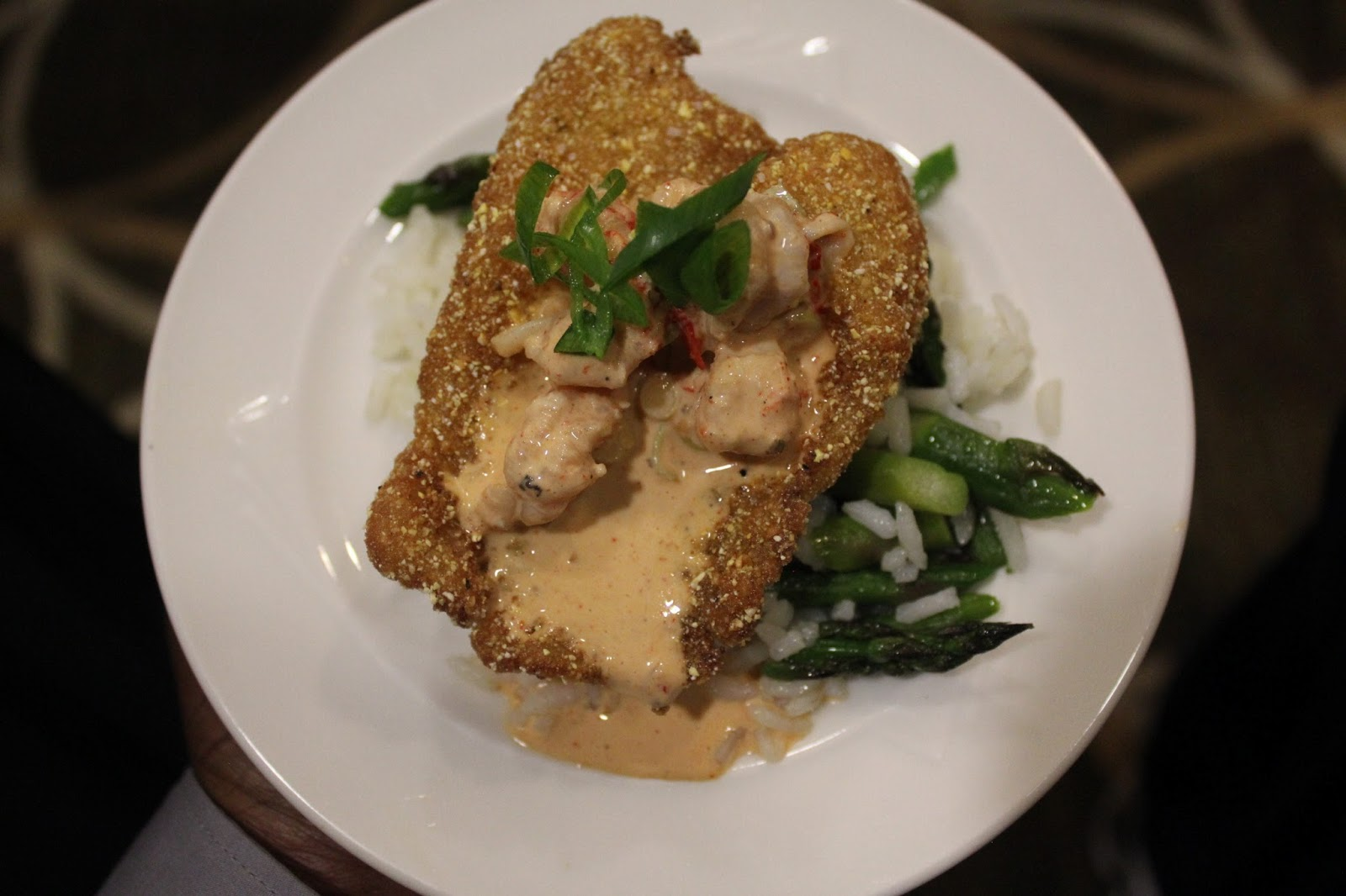 Chef Maiden demonstrated a corn meal crusted catfish, fried and topped ...