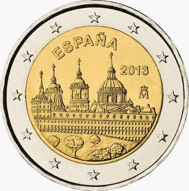 2 Euro Commemorative Coins Spain 2013, San Lorenzo del Escorial Monastery