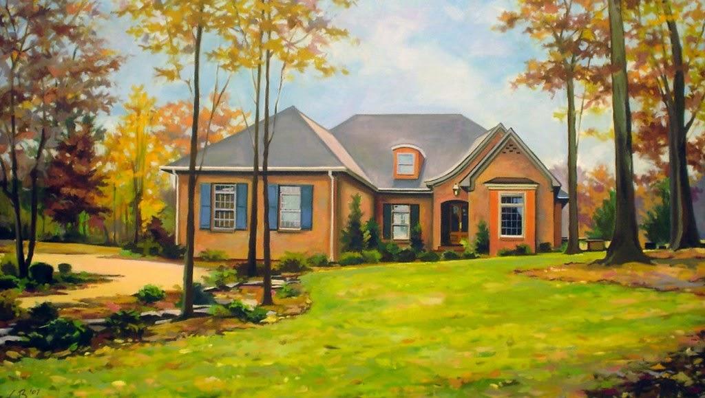 Im genes arte pinturas paisajes realistas con casas de - Paisajes de casas ...