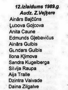Valles vidusskolas 12. izlaidums 1989. gadā