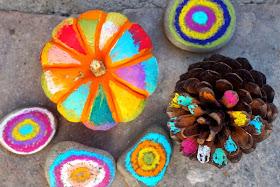 easy no carve colorful Halloween Artwork on pumpkins, rocks, and pine cones