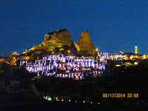 Uchisar Castle by night, Uchisar, Cappadocia, Turkey