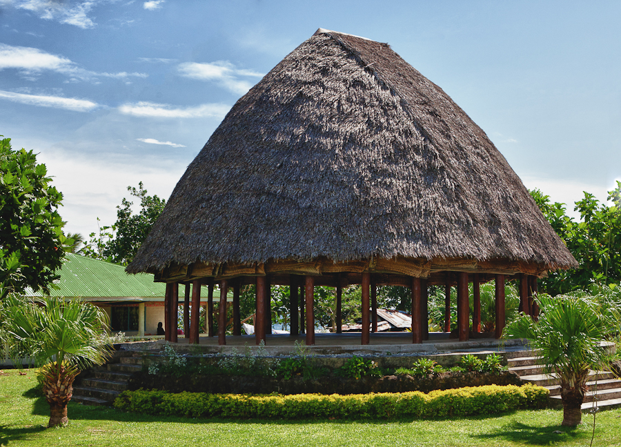 Traditional fales had steep rounded or dome shaped roofs here are a