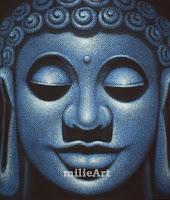 Lukisan Budha Minimalis Biru MD-012