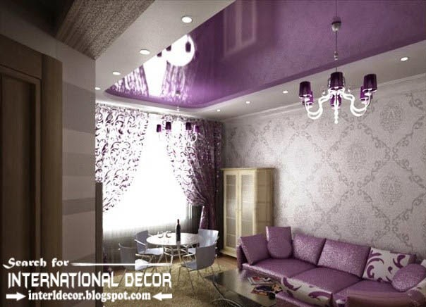 stretch ceilings in the purple interior, purple stretch ceiling with purple chandelier