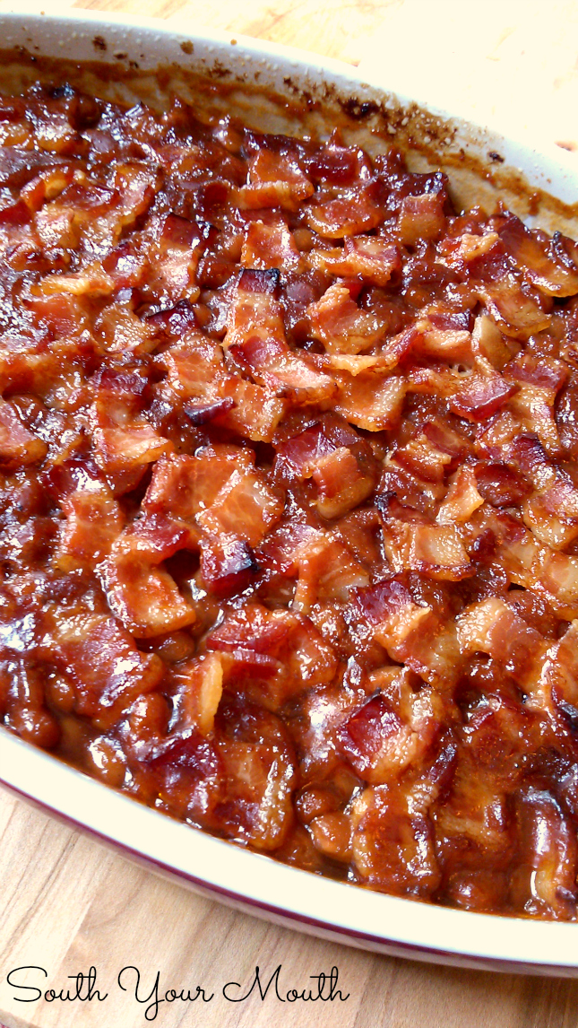 Classic Southern Style Baked beans topped with smoky bacon