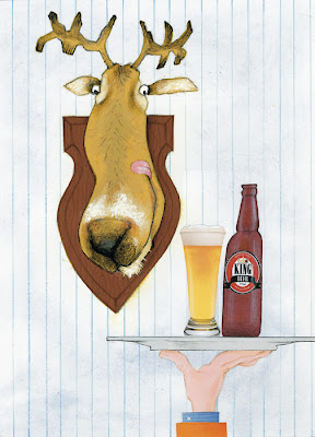 A stuffed deer head looking as a waiter brings a glass of king beer by Robert Wagt