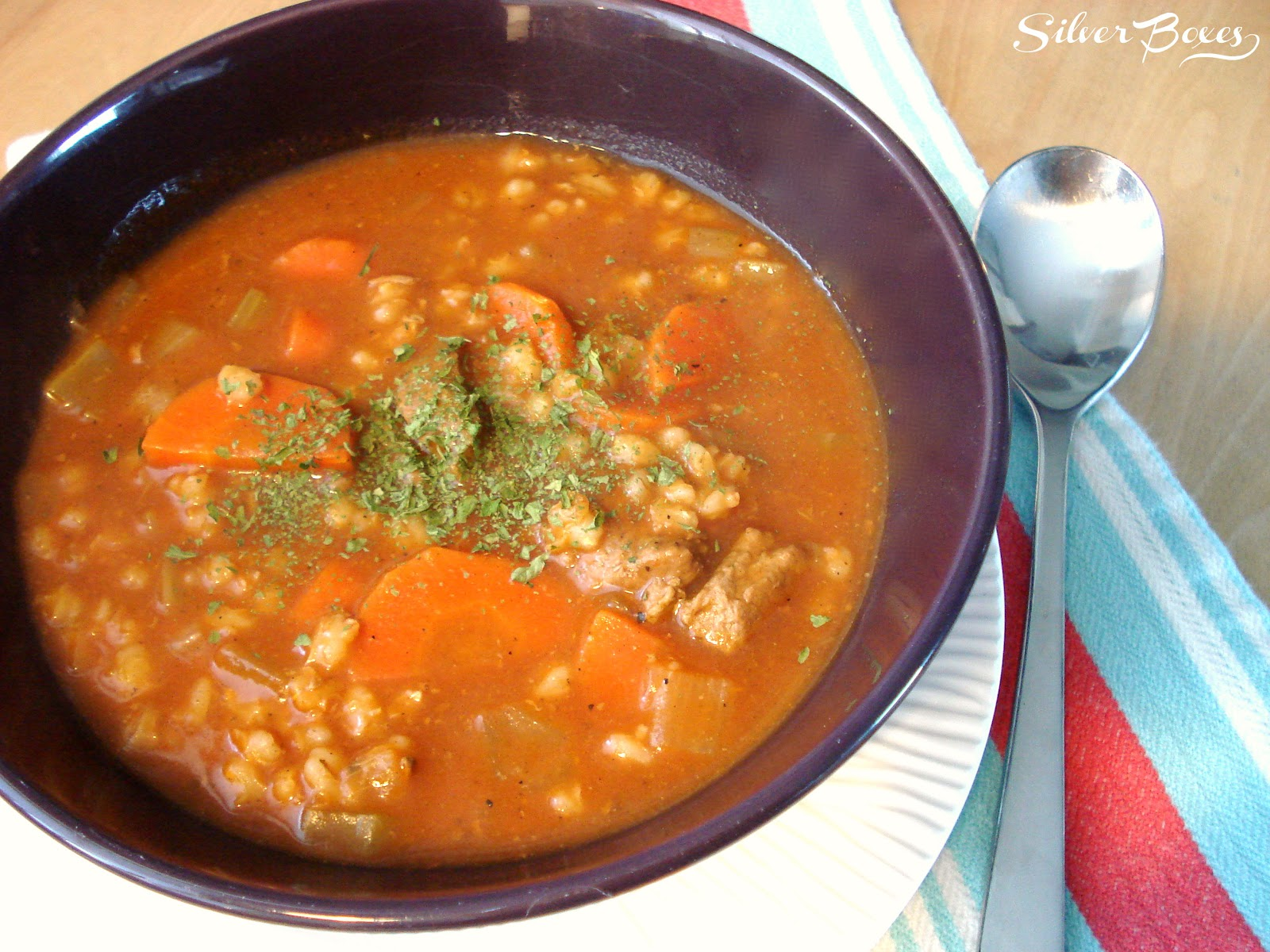 Silver Boxes: Beef & Barley Soup