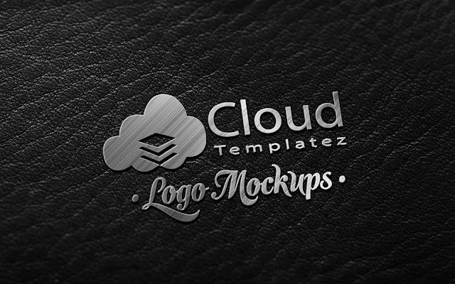 Dark Leather Metallic Finish logo mockup Free