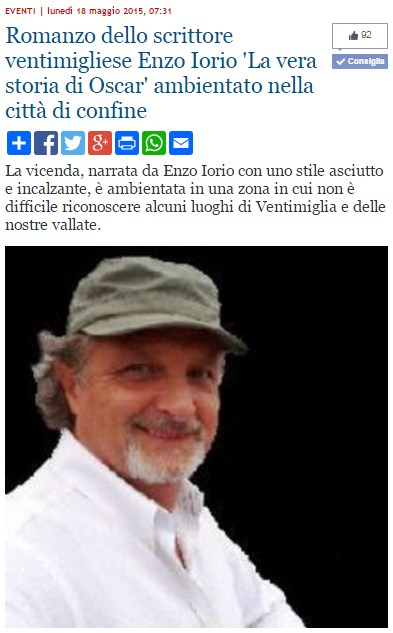 """""""Oscar Rafone"""", il romanzo di Enzo Iorio su Sanremonews."""
