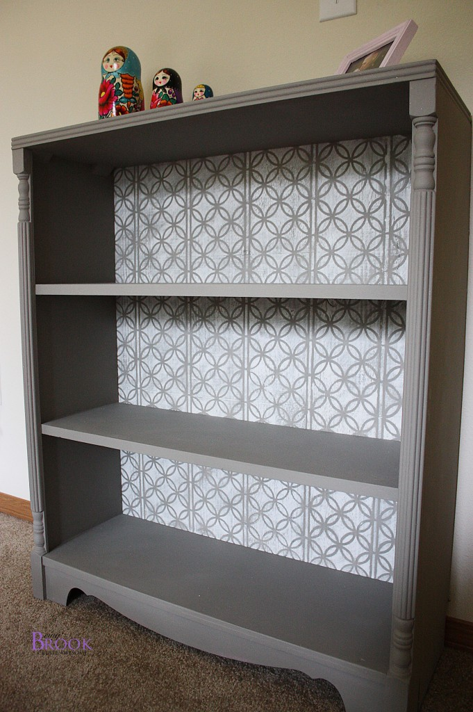 Stenciled Bookcase Annie Sloan French Linen Pure White