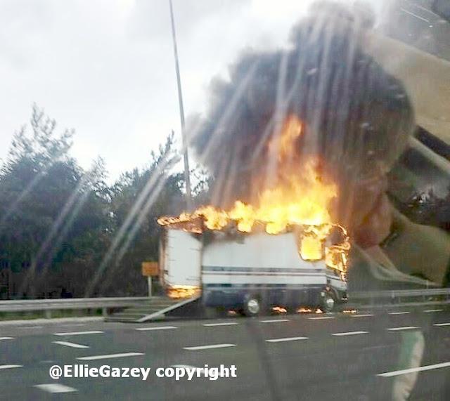 Fire on motorway horsebox involved