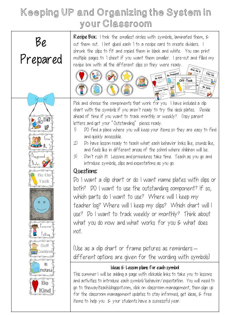 The Way I Teach Good Bye Behavior Chart Hello Classroom Routines