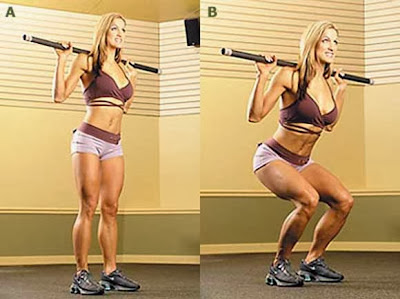 Woman Squat Weight Lifting