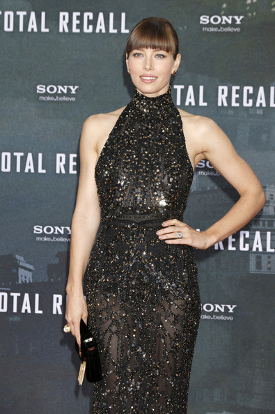 Jessica Biel in a black floor-length gown at the Berlin premiere of her movie, 'Total Recall', held at the Sony Center in Berlin, Germany.