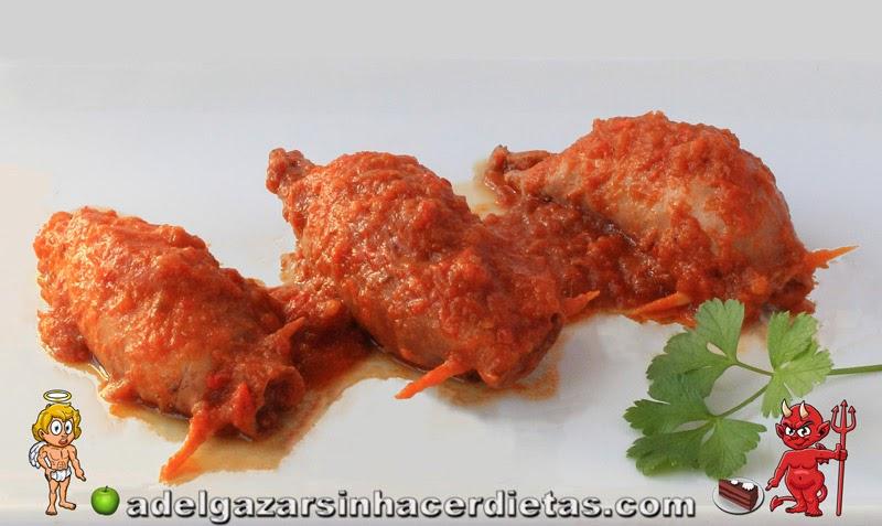 COCINA FÁCIL Y SANA. Receta saludable de Potas rellenas en salsa baja en calorías y apta para diabéticos. Incluye VIDEORECETA.