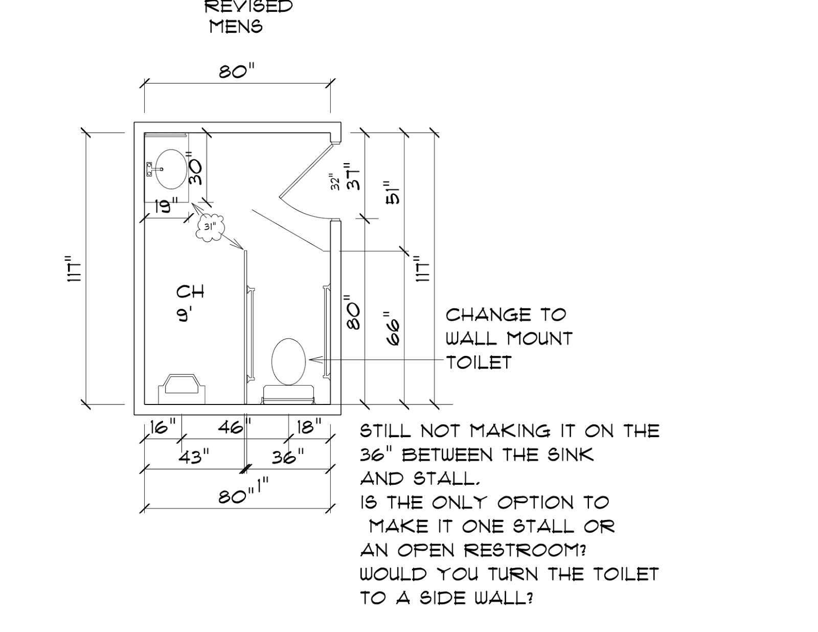 ada: redesigning a public men's bathroom based on ada regulations