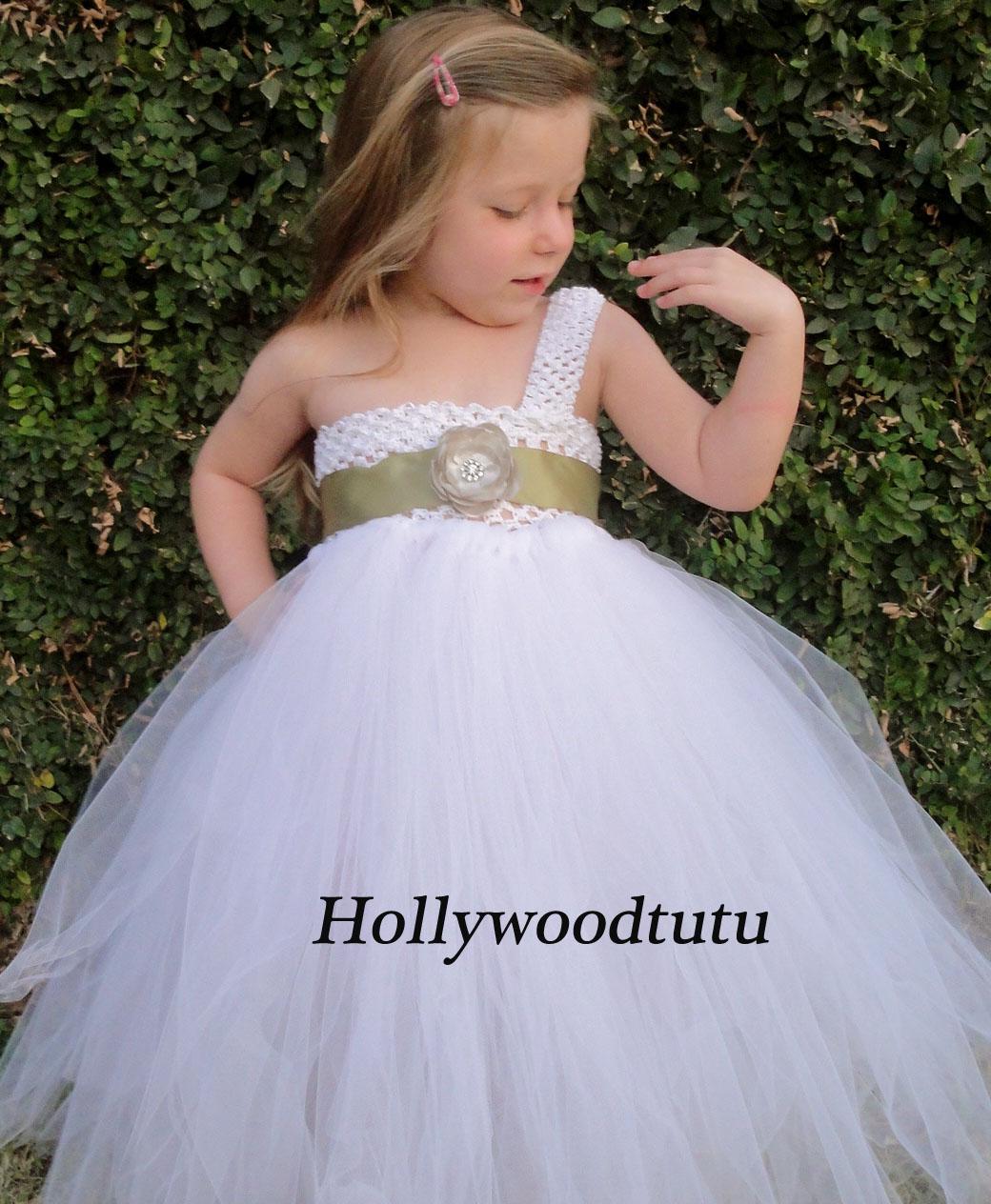 Hollywoodtutu Dresses Baby Girl Silvergreen And White Flower Girl