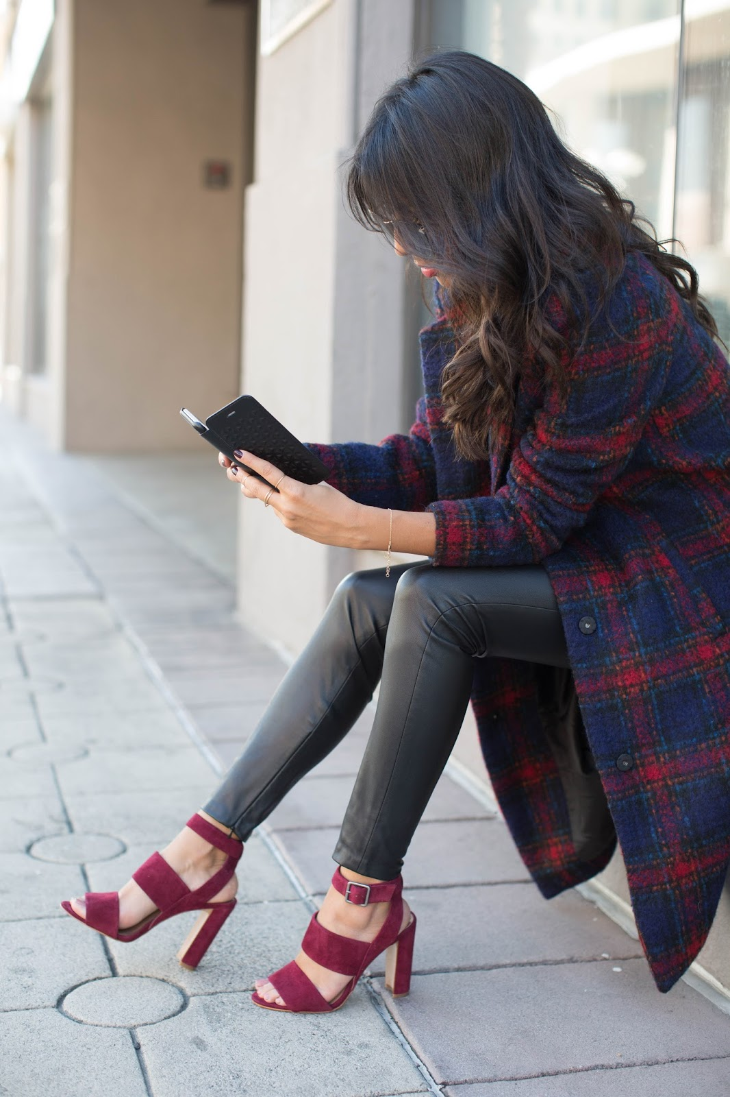 how to wear plaid coat, dark red heels, oxblood heels, leather pants, winter outfit