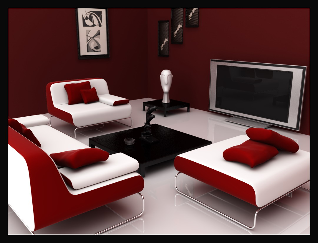 dramatic red, white and black interior colour scheme creates  title=