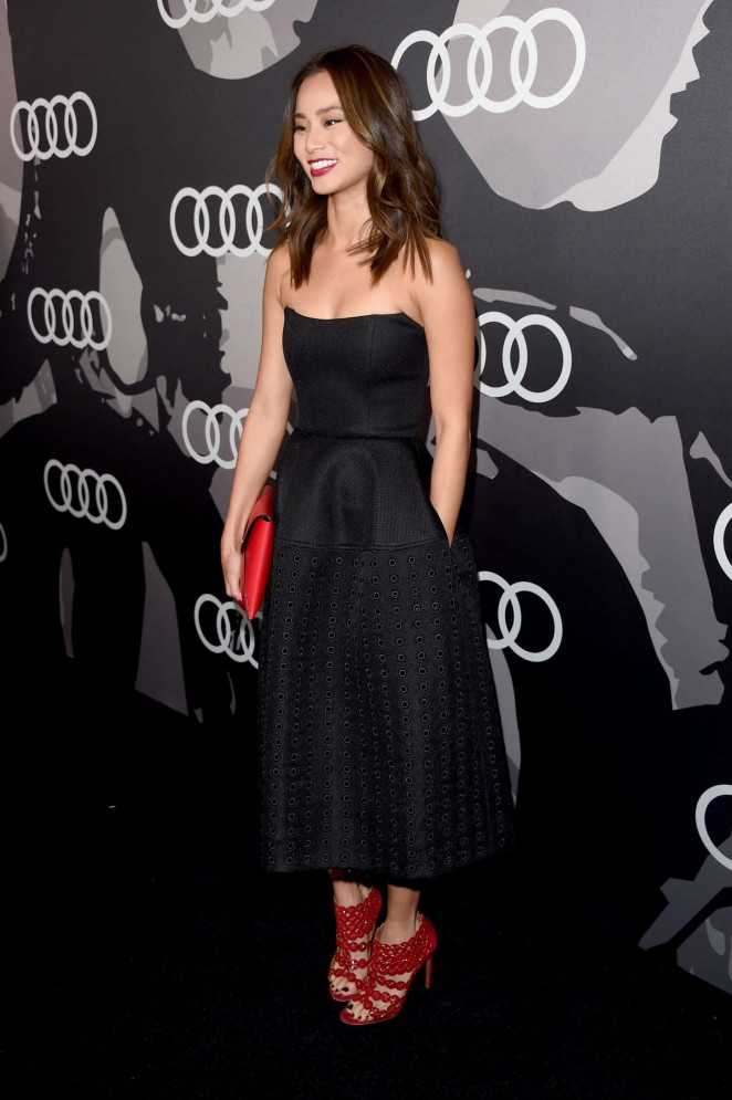 Jamie Chung in a strapless black dress at Audi's 2015 Golden Globes Celebration in LA