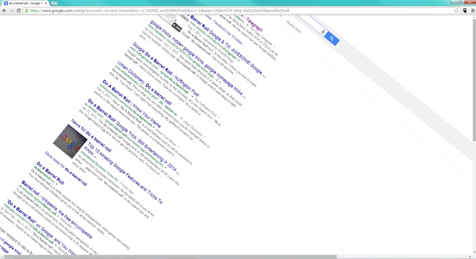 Screenshot of the screen barrel rolling