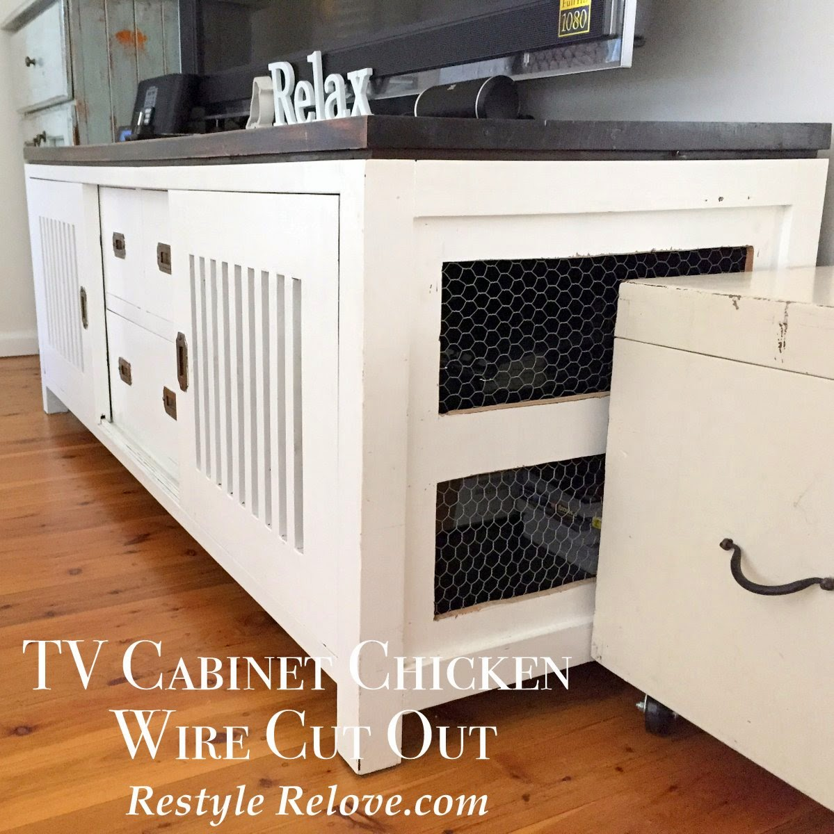 TV Cabinet Chicken Wire Cut Outs