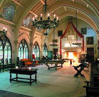 The exquisite interior of Belmont Castle in Newport, Rhode Island is a playground for spirits who haunt the castle
