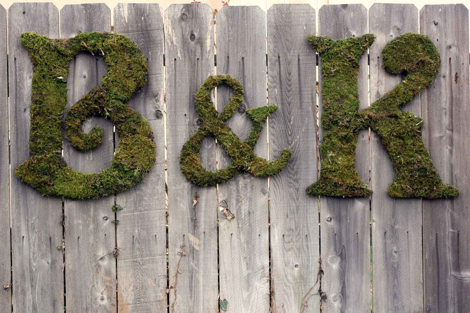 letters covered in moss Bring the outside in with this rustic moss covered monogram letter.