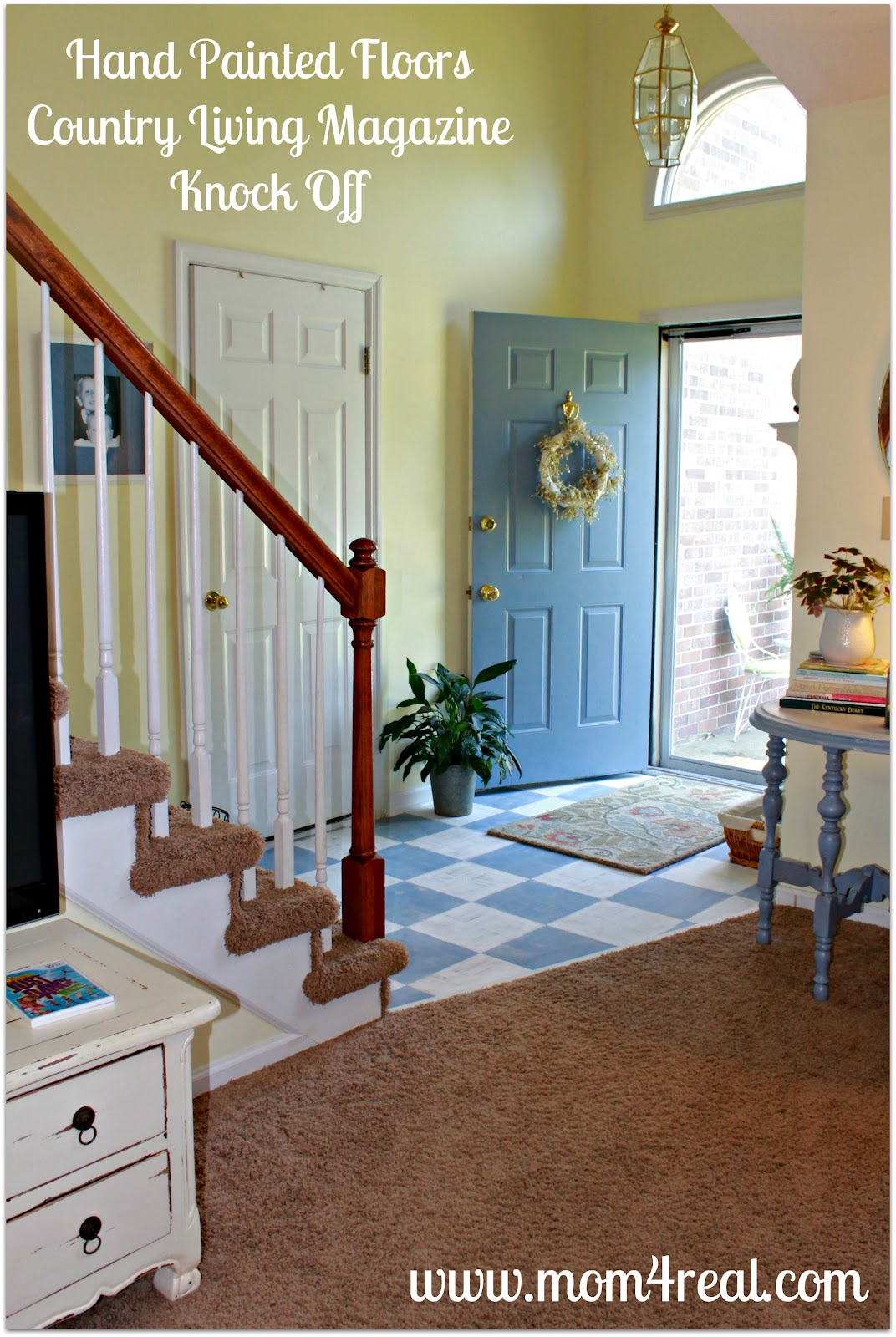 Painted wood floors mom 4 real i have hated the parquet floor in our entryway since the day we moved in i have thought about replacing them but with kids and animals constantly coming solutioingenieria Gallery