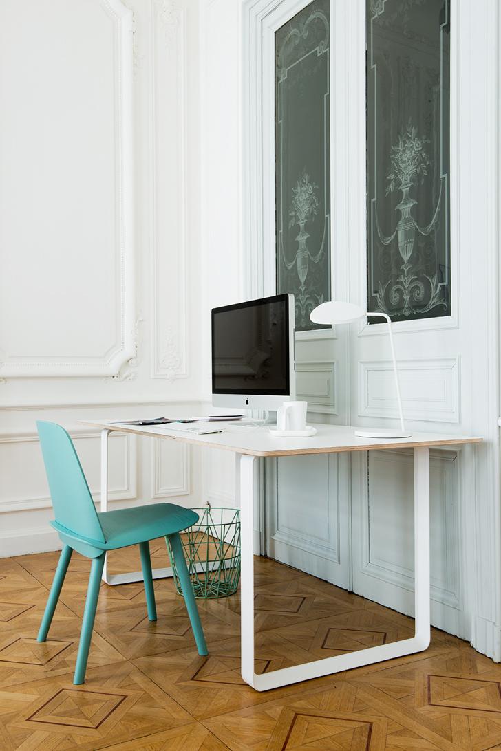 Bureau blanc et chaise turquoise