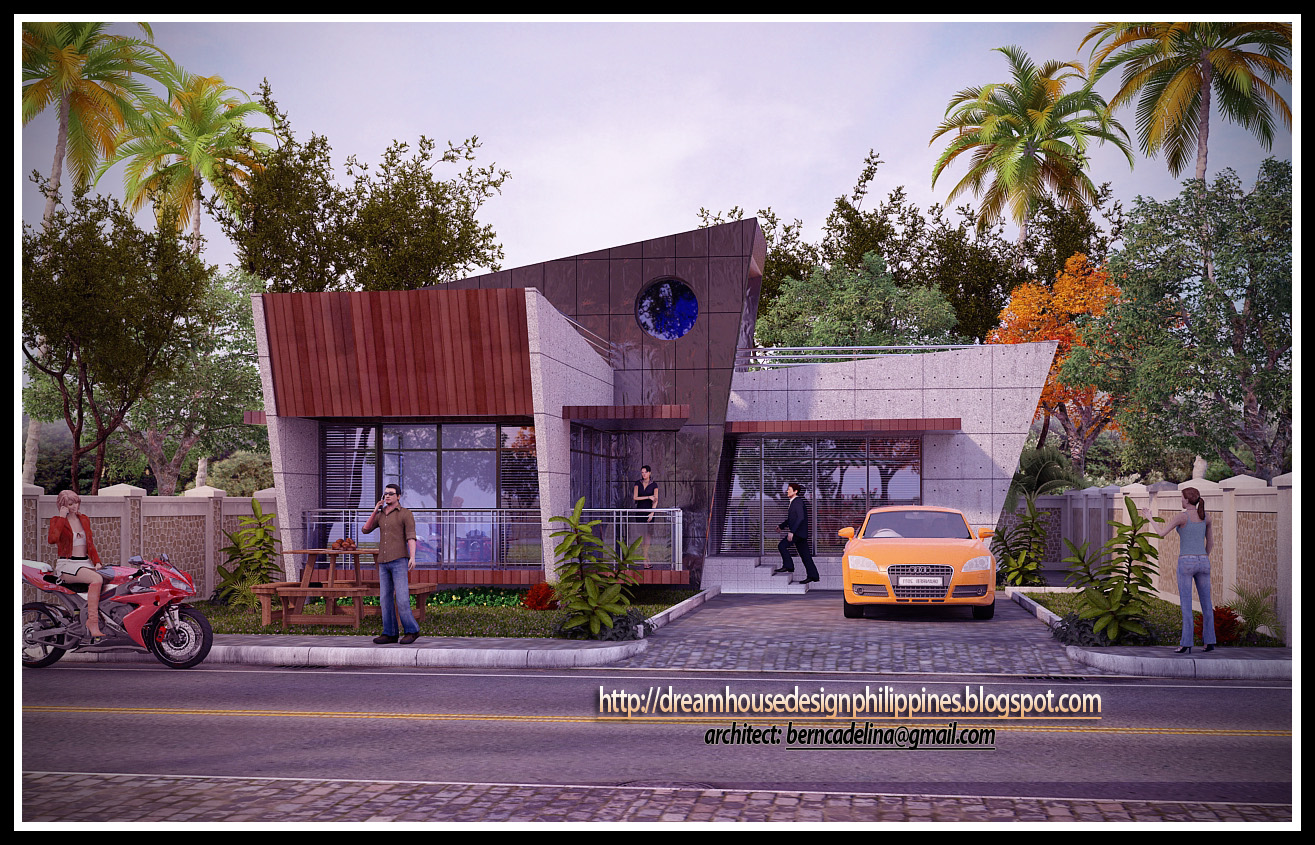 This modern bungalow house design is a product of 3d studio max