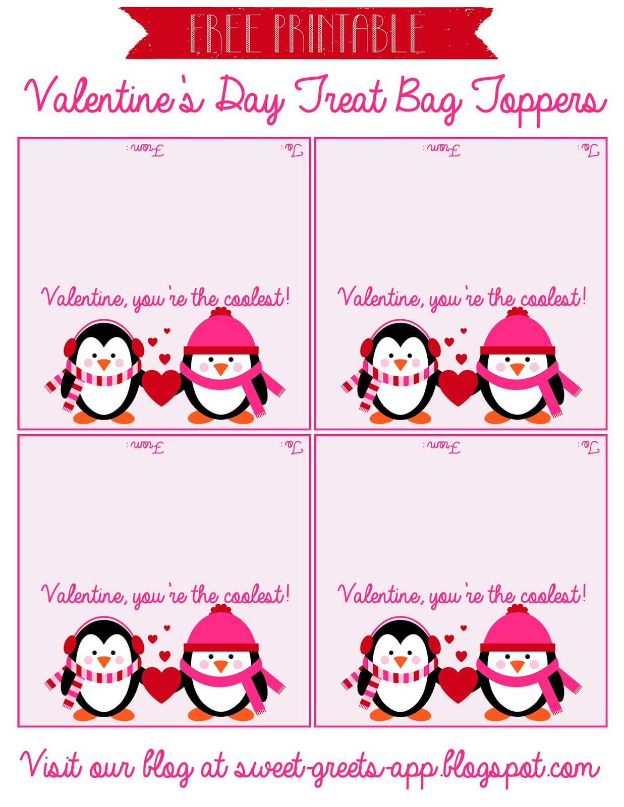 graphic about Free Printable Treat Bag Toppers identify Cute Nothings: Totally free Printable Valentines Working day Deal with Bag Toppers