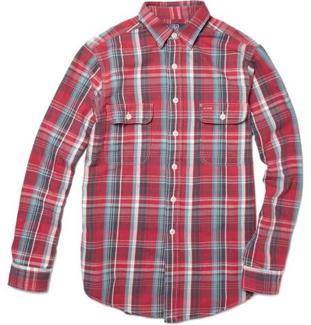 Emm pronounced edoublem polo ralph lauren plaid cotton for Red white and blue plaid shirt