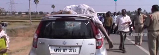 A driver in Telangana was finally stopped after he drove away with the body of his accident victim on top of the car.  A disturbing video shows the body of the unfortunate victim miles away from the accident spot, but still perched on top of the car.  The incident occurred on Hyderabad-Vijayawada expressway at Kattangur mandal of Nalgonda district in Telangana on Saturday.