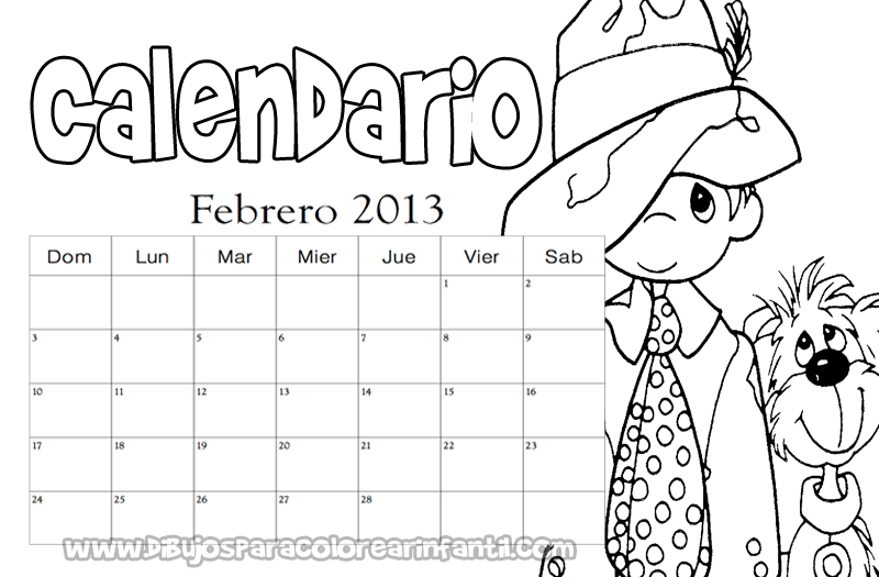 Calendario para colorear de Los Preciosos Momentos 2013
