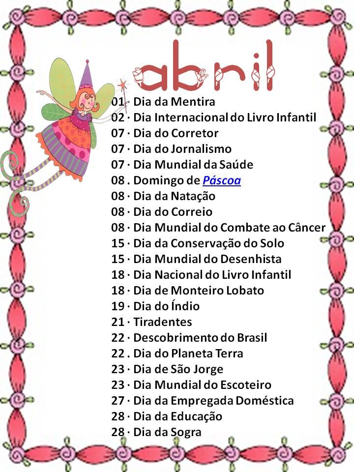 Dani Educar : DATA COMEMORATIVA ABRIL 2013