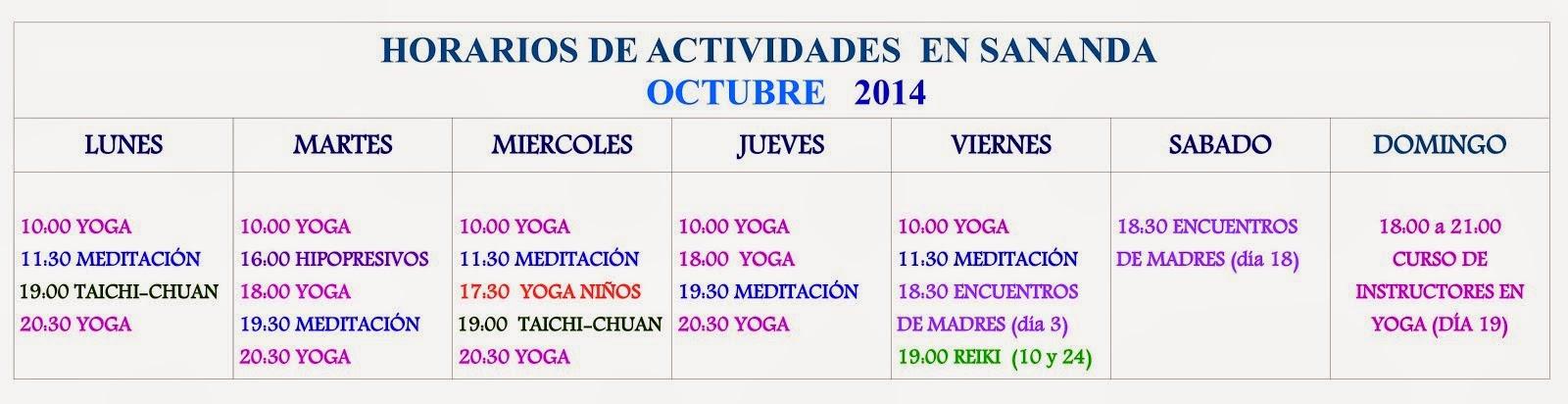 Calendario de Octubre 2014