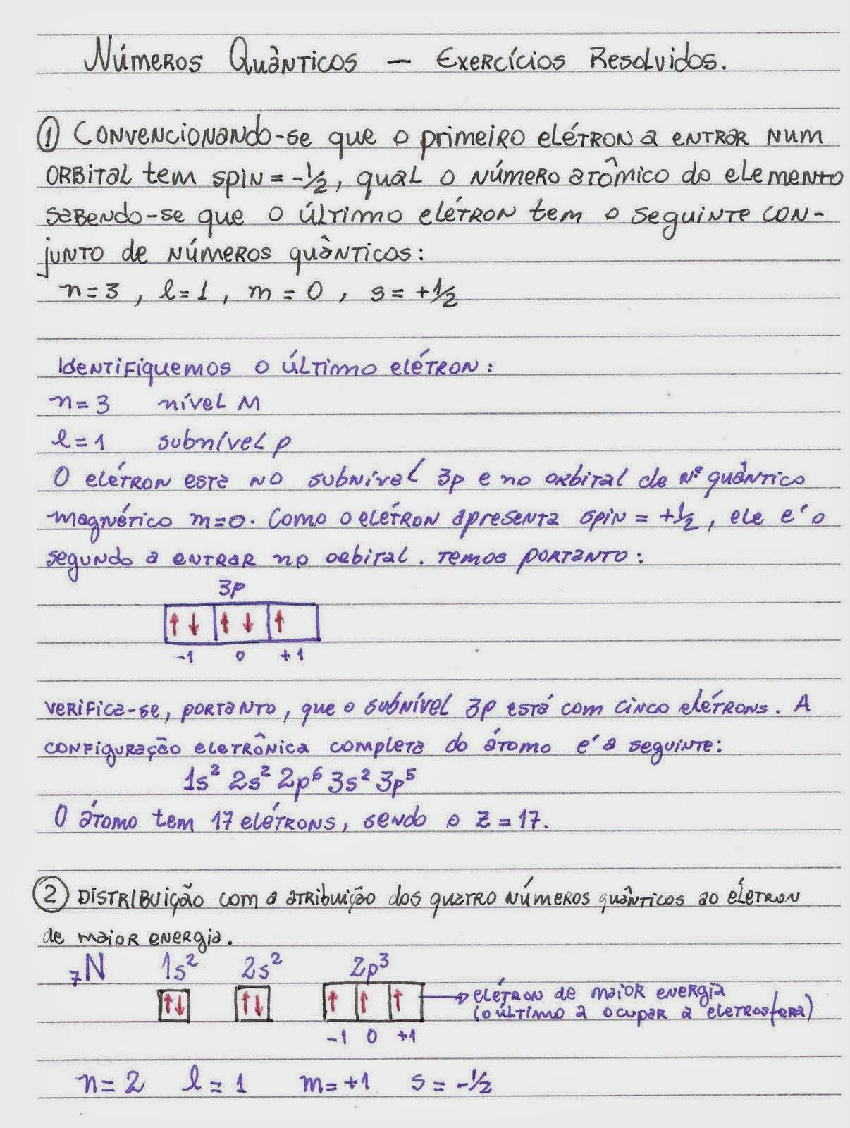 Química 1 ano exercícios