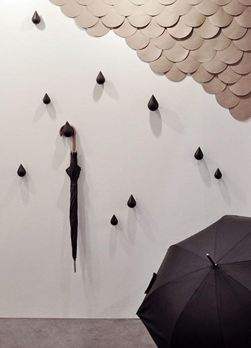 perchas de pared con forma de gotas de agua