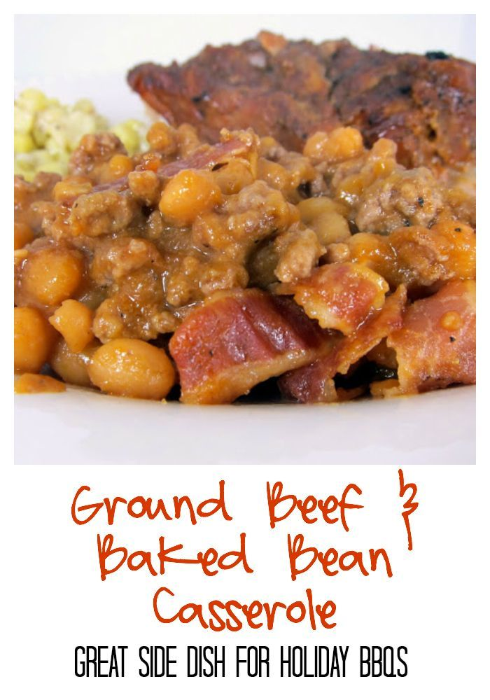 Ground Beef and Baked Bean Casserole Recipe - ground beef, pork and beans baked in a homemade bbq sauce and topped with bacon. Perfect side dish for holiday BBQs. Can make ahead and bake when ready.