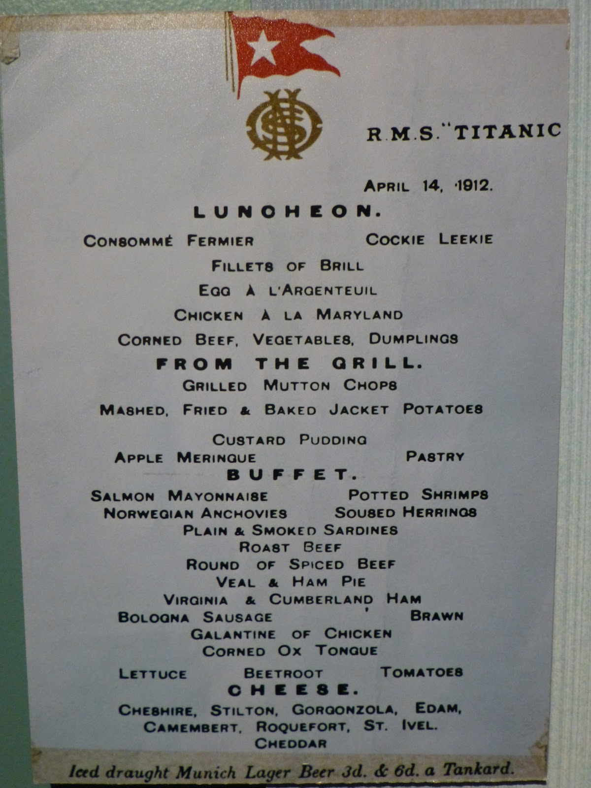 Titanic First Class Menu The Lavish First Class Dining