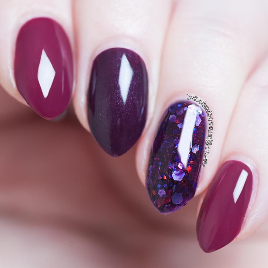 Illamasqua Vice, Illamasqua Gothica, Femme Fatale Cosmetics Vrotex Remains  swatch mani nail polish