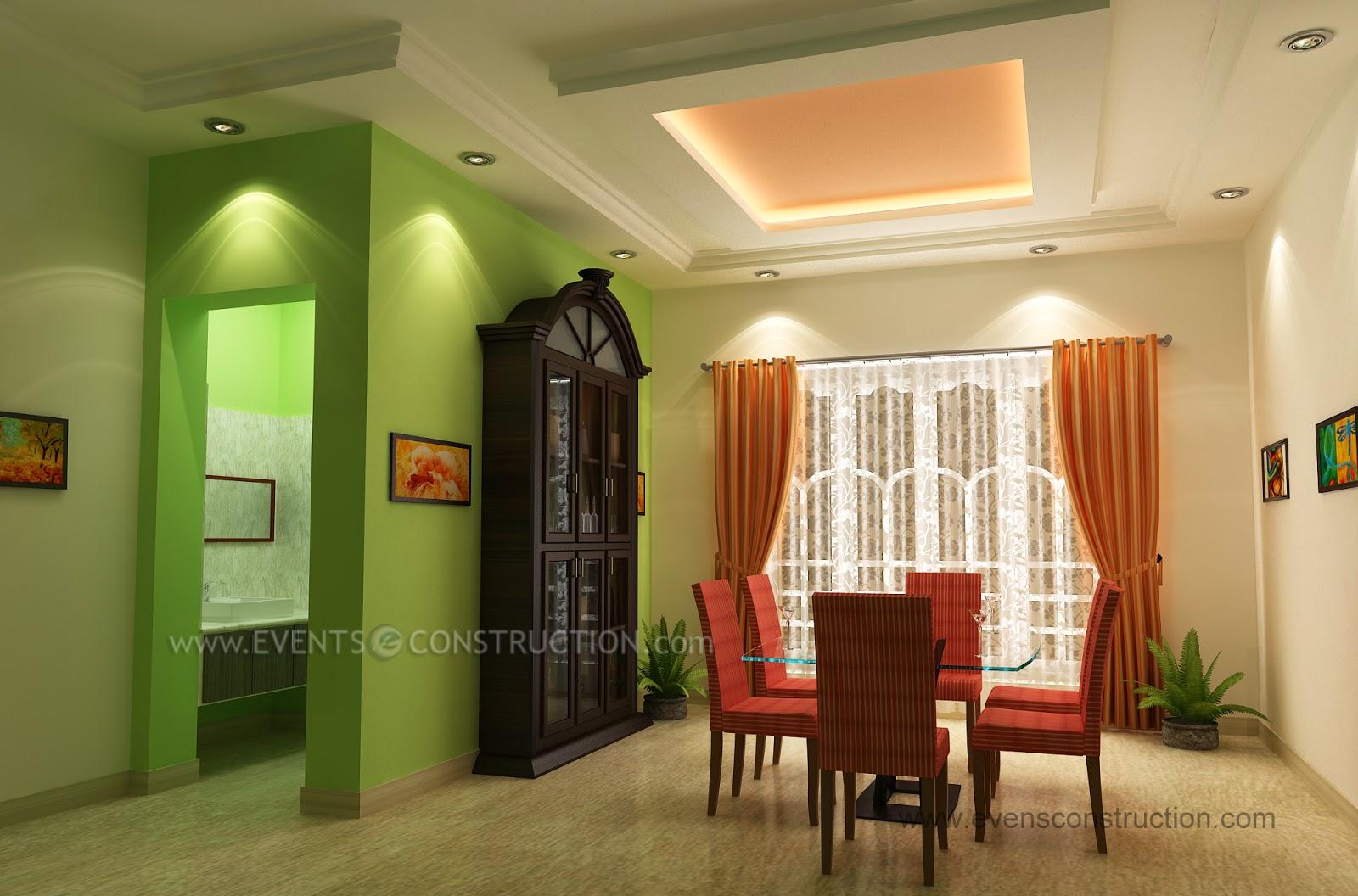 Evens construction pvt ltd crockery shelf in dining room for Dining room designs kerala