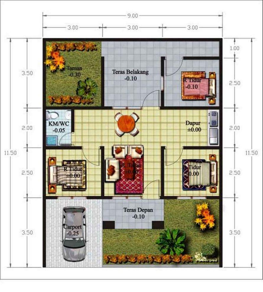 model denah 3 kamar ada garasi idaman