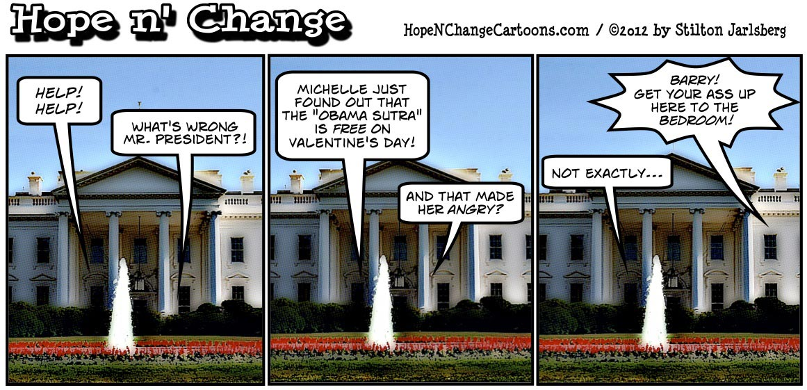 The Obama Sutra will be free to download all day on Valentine's Day, hopenchange, hope and change, hope n' change, Stilton Jarlsberg, political cartoon, tea party