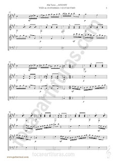 3  Marcha Turca Partitura de Trio de Guitarra y guitarra bajo Guitar Sheet Music for three guitars