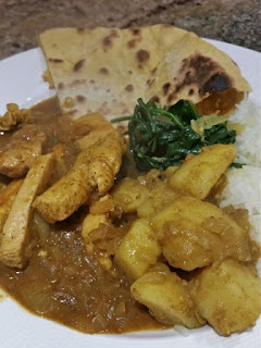 Home made curry and side dishes