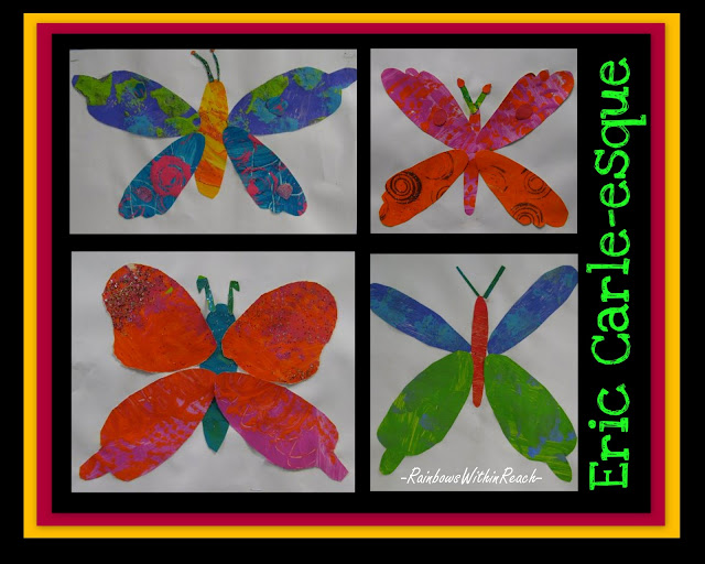 photo of: spring bulletin board of Eric Carle style paintings