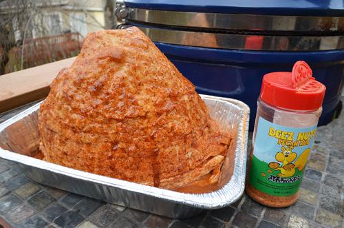 Deez Nuts ham, Grill Dome ham, big green egg ham, kamado ham, vision grills ham